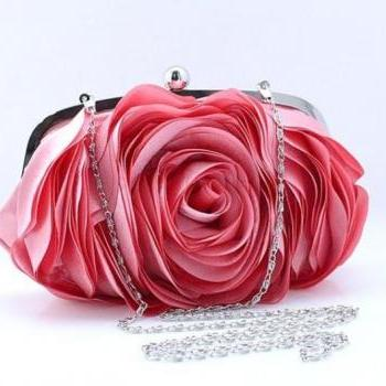 Pink Clutch for Elegant Women-Big Rose Clutch-Pink Peach Purses