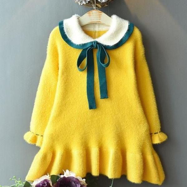 Bright Yellow Dress Coat for Baby Girls Cute Princess Dress Wedding,Birthday,Party, Formal Wear for Toddler Girls-Yellow Tunic for Girls