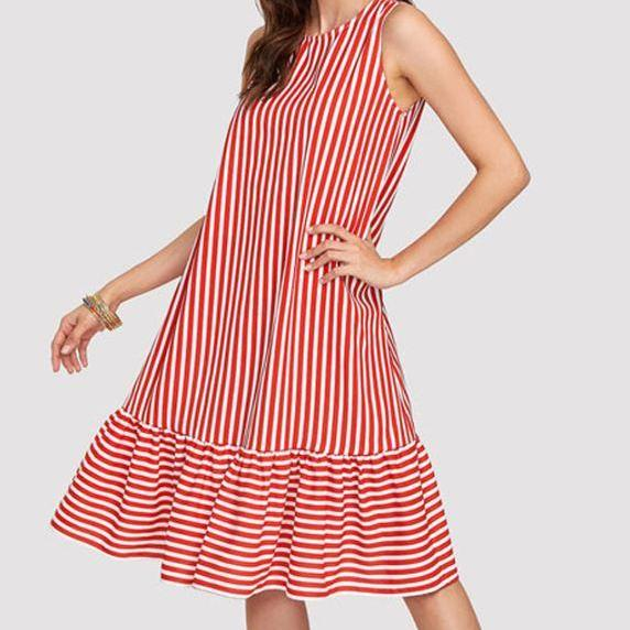 RSS Boutique Free Shipping Summer Dress for Teens Red Candy Canes Stripe Ruffled Dress