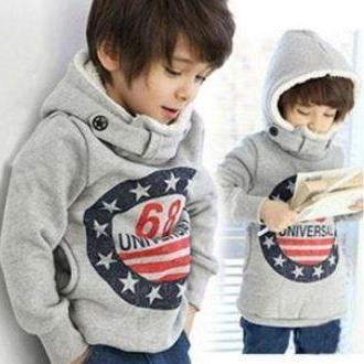 Gray Boys Winter Jackets Turtleneck with Hood Thick Winter Sweater Jackets