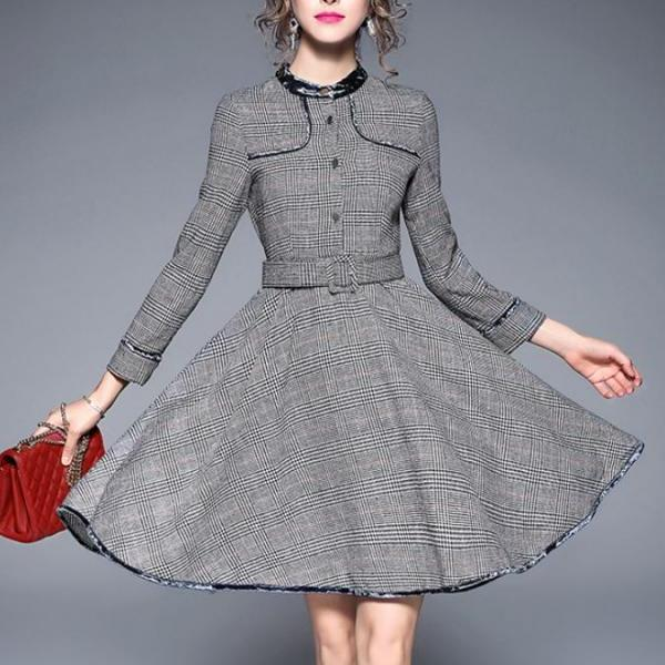 Medium Size Gray Dress Velvet Trim High Quality Checkered Houndstooth Dress Coat for Women