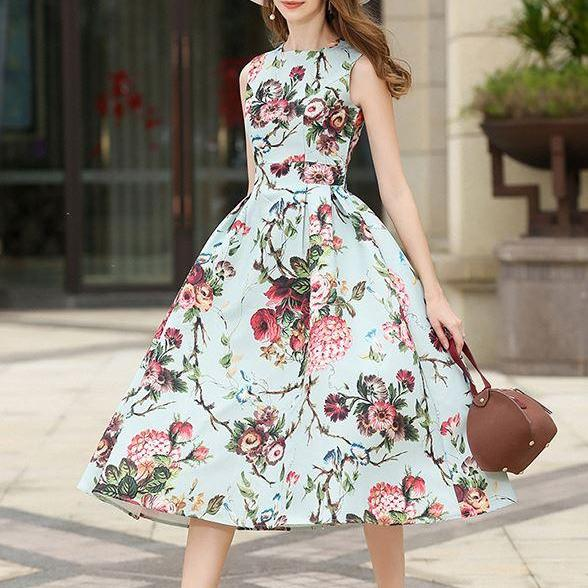 Printed Blue Dress for Women Office Work Pleated Dress High Quality Floral Dress for Spring