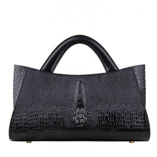 New Leather Bags for Women Birthday Gift Black Tote Bags New Embossed Croc Leather Shoulder Bag for Women