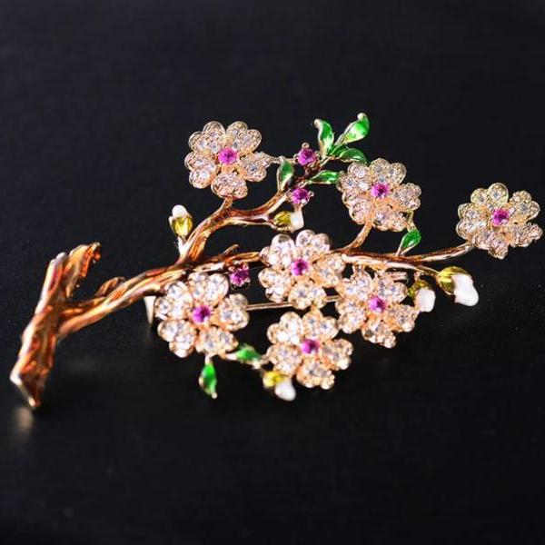 Wedding Accessories Pins and Brooch for Men and Women Floral Austrian Crystals Pink Flower Brooch Pink Corsages