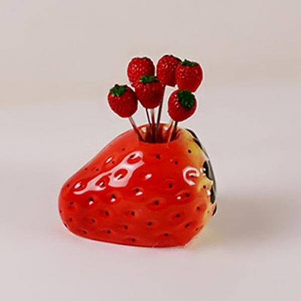 Strawberry Fruit Fork Holder-Wedding Suit Stainless Steel Forks-Party Cake Dessert Fork Holder-Ceramic Strawberries