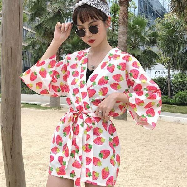 Classy Strawberry Kimono for Women-Summer Wrap Around Strawberry Robes for Beach Swimming Pool Tops