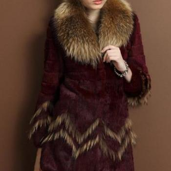 Free Shipping Long Red Wine Raccoon Fur Collar Coat Genuine Leather Rabbit Fur Winter Parka Coat-RED COAT