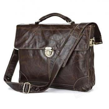 High Quality Genuine Leather Mens Bag,Vintage Cow Leather Briefcase - Cross Bag for men- Leather bag for Men