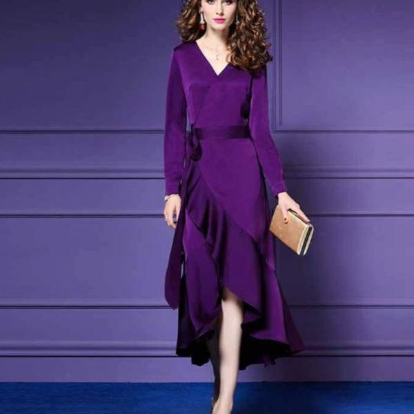 Purple Evening Dress for Women-Purple Wrap Around Dress with Ruffles
