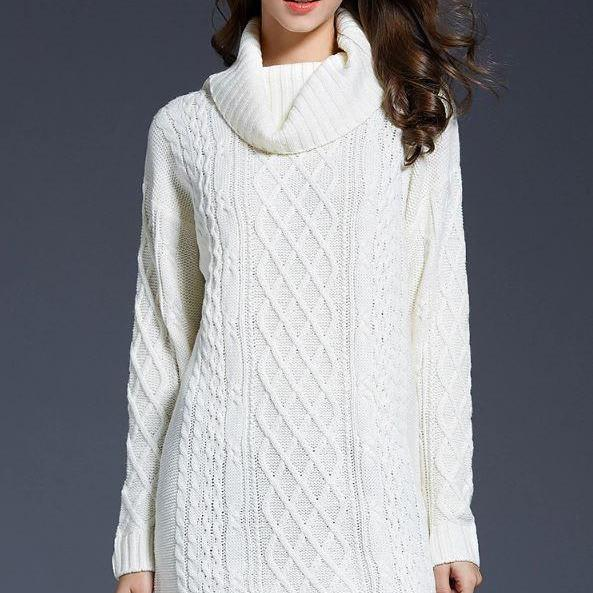 Knitted Warm Acrylic White Sweaters for Women Loose Turtleneck Sweater Dress for Women Winter, Autumn and Spring Season Outfit