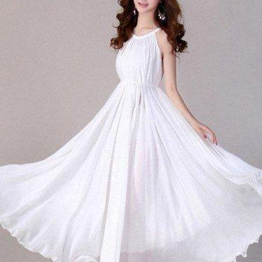 Ready for Shipping White Bridal Dress for Women White Bridesmaids Dresses White Tank Dress Flare Hem White Maxi Dresses for Women