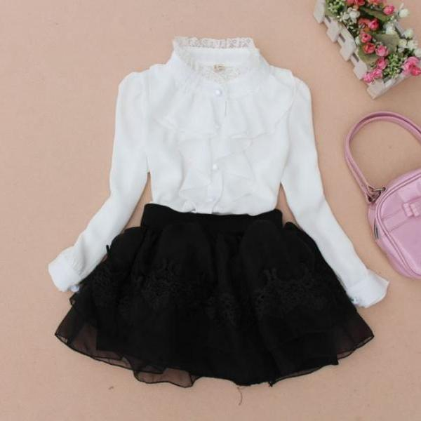 Little Girls White Blouses Vintage Style Ruffled White Blouses for Tween Girls Vintage Ruffled White Tees for Teenage Girls