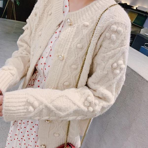 Loose Fit Beige Ivory Sweater Knitted Puff Balls with Pearl Buttons Warm Sweaters for Women Plus Size Cardigans