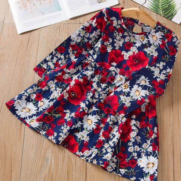 Free Headband for Navy Blue Dress for Girls Printed Red Poppies Casual Dress for Girls Cotton Dresses RudelynsSariSariStore.com Items