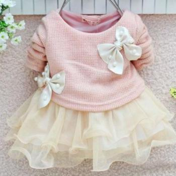 PINK Baby Newborn Dress with Pearl Bows for Infant Girls Soft PINK Dress Infant