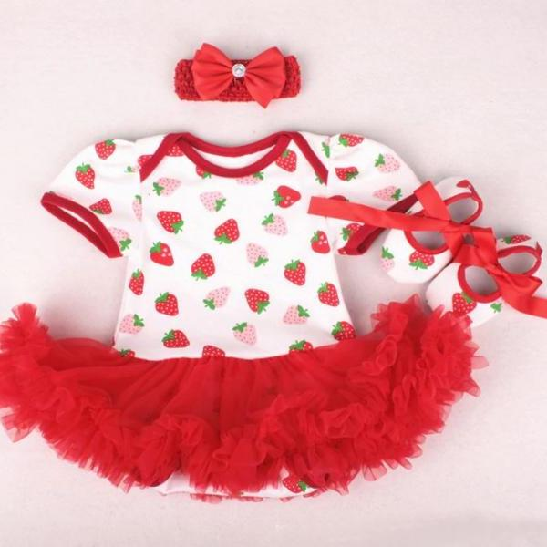 3pcs/Set Grand Child Birthday Gift Red Blouses with Strawberry Prints 1st Birthday Dresses Strawberry Baby Girls Clothing Set Strawberry Birthday Theme