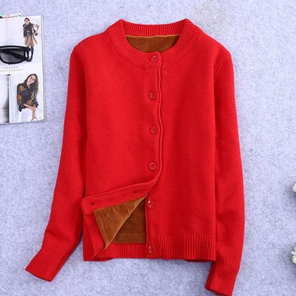 Fashion Red Sweater for Women with Super Soft and Warm Faux Fur Lining Winter Cardigan with Velour Fur Lining Size 8 Knitted Sweater