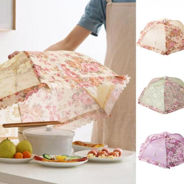 Avoid Flies Food Cover Party Umbrella with Ivory Floral Prints for Mini Kitchen Utensils Cover Food Picnic Parasol