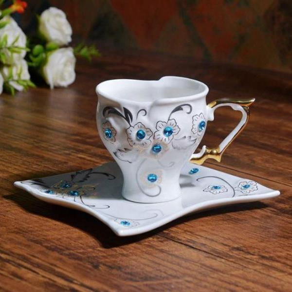 Love Gifts White Porcelain Mug with Blue Rhinestones 1 Tea Cup 1 Saucer Mocha Coffee ware Sets-Kitchen Ware