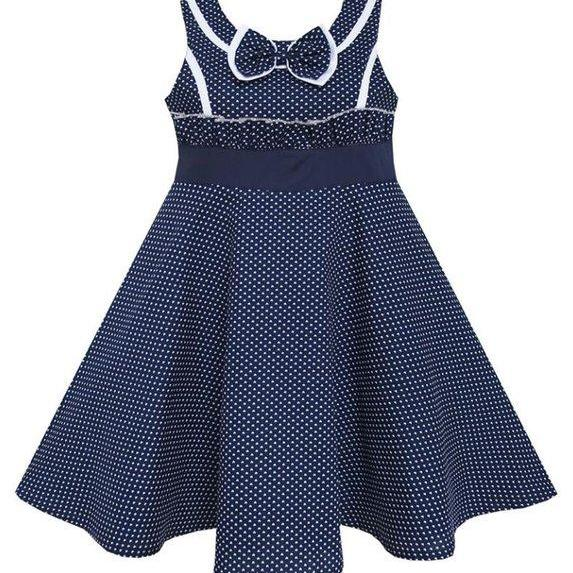 Ready for shipping Girls Dress-Navy Blue Dress for Toddler Girls Ages 5T-6 Years Old-Heart Pattern Dots-Comes Free Headband