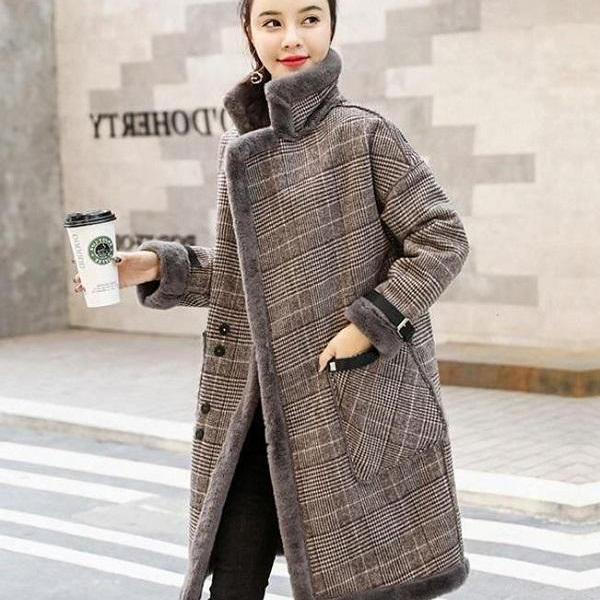 RssLyn Women's Turtleneck Overcoats Plus Size Clothing S-6XL Plaid Thick Jackets for Winter and Autumn Fashion Turtleneck Jackets