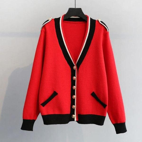 Rsslyn Women's Red Sweater with Shoulder Buckle High-Quality Red Cardigan for Women with Golden Buttons