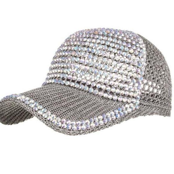 RssLyn New Trend Silver Hats with Full Rhinestone Beads Fashion Baselball Hats