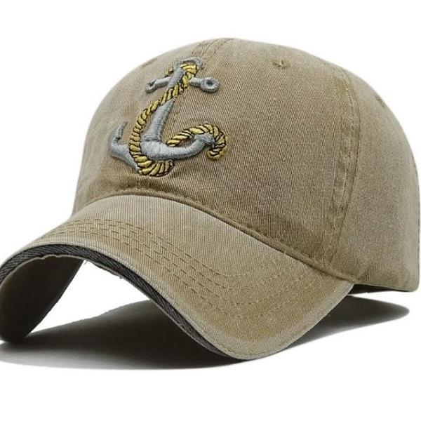 RssLyn Fashion Baselball Hats for Men Embroidered Anchor Boyfriend Seaman's Hats Brown Pure Cotton Outdoor Hats