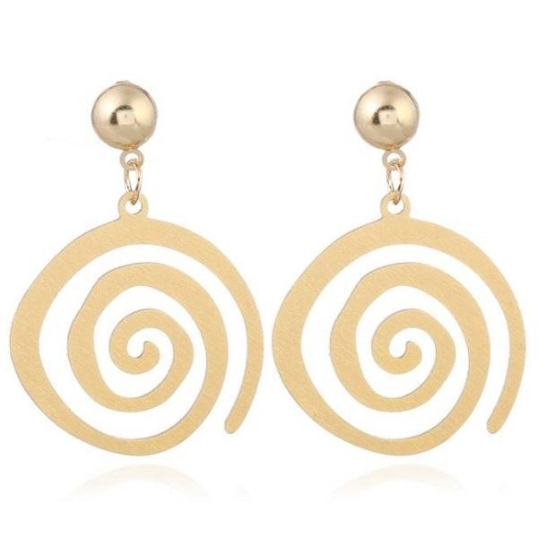 Rsslyn Golden Spiral Earrings for Women-Fashion Spiral Drop Earrings Large Circle of Gold Jewelry
