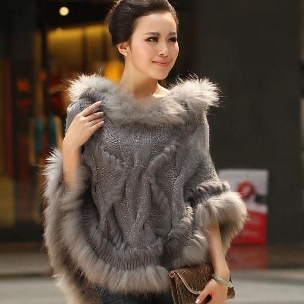 Gray Knitted Cape Poncho Gray Poncho Shawl Scarf for Women