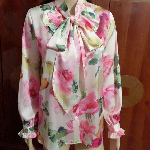 Rsslyn Pastel Pink Blouses for Women High-Quality Satin Blouses with Floral Prints