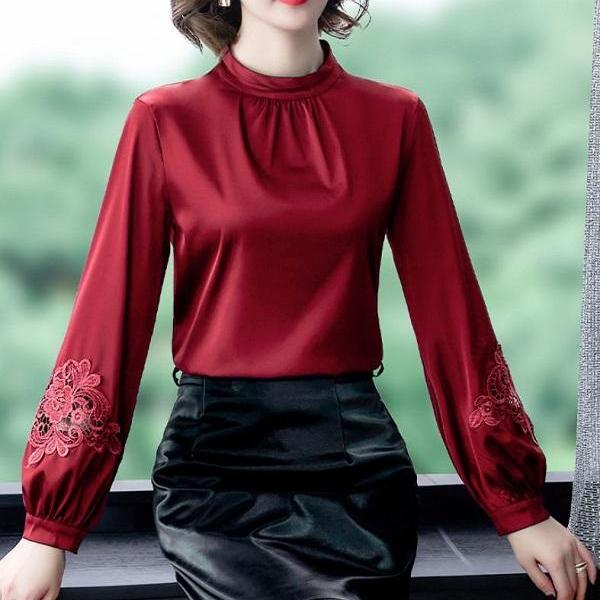 Rsslyn Burgundy Turtleneck Blouses for Women Embroidered Sleeves Mandarin Collared Blouse for Women