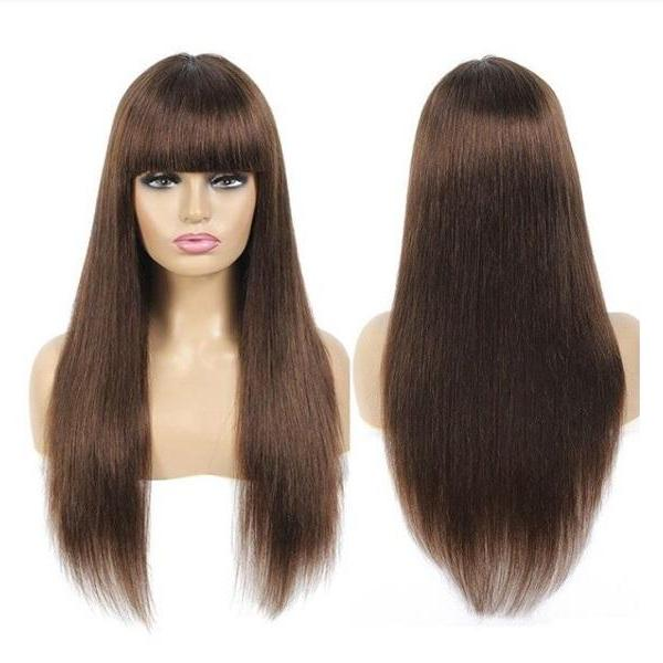 Rsslyn Brown Real Human Hair Wigs with Bangs 20 Inches Long Non-Lace Non-Remy Hair 150% Density Hair Wigs Brunette Hair