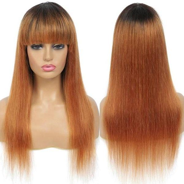 Rsslyn Ombre Blond Real Human Hair Wigs with Bangs 16 Inches Long Non-Lace Non-Remy Hair 150% Density Hair Wigs Brunette Hair