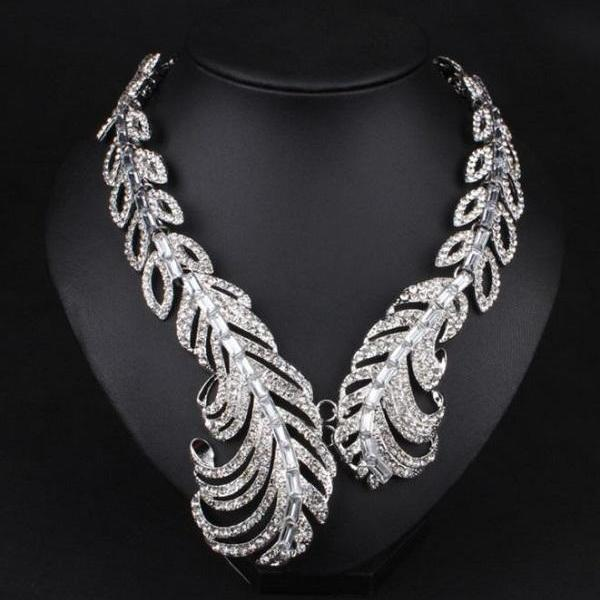 Rsslyn Luxury Full Rhinestone Carved Feather Pattern Silver Chokers Crystal Statement Maxi Choker Necklaces for Women Silver Jewelry