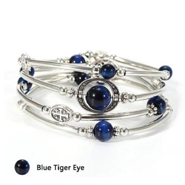Rsslyn Blue Tiger Eye Stone Bracelets for Women Multilayer and Expandable Bracelets