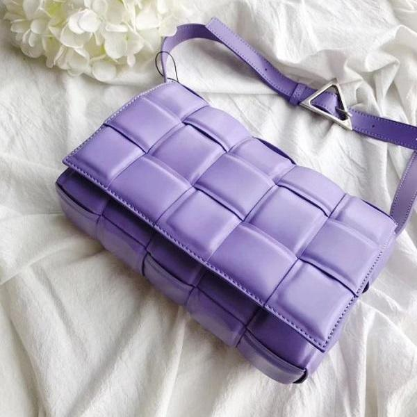 Rsslyn New Purple Crossbody Bags for Women Silver Hardware Lavander Color Basketweave Genuine Leather Handbags Ladies Totes