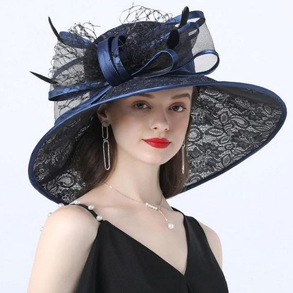 Rsslyn Fashion Kentucky Derby Hats Navy Blue Wide Brim Hats for Summer Wedding Hats