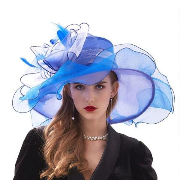 Rsslyn Chiffon Blue Kentucky Derby Hats Blue Wide Brim Hats for Summer Wedding Hats
