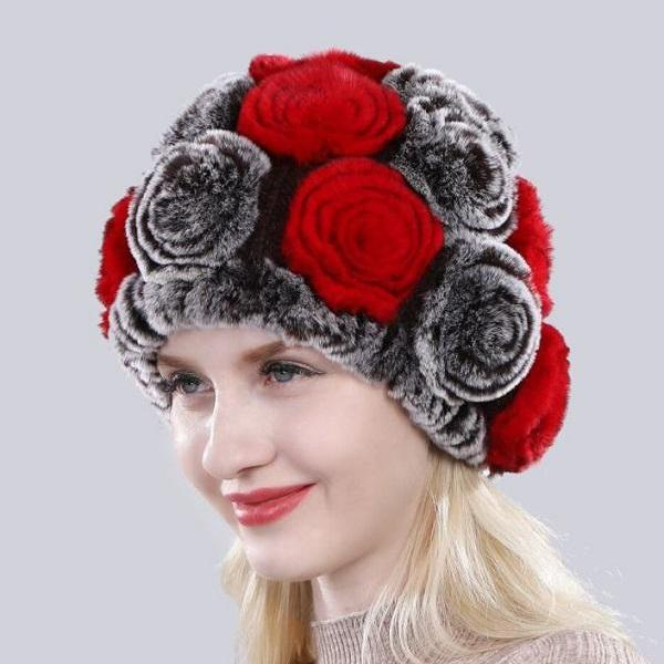 Rsslyn Elegant Rex Rabbit Fur Winter Hats Red/Black Rose Pattern 100% Genuine Rex Rabbit Fur Hats