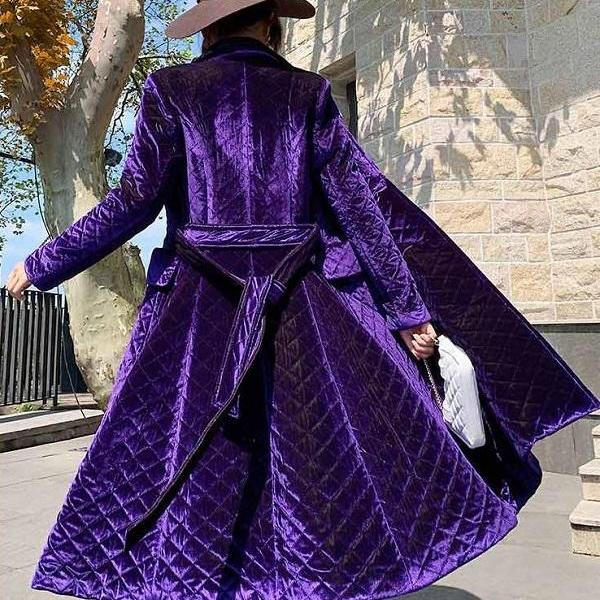 RssLyn Purple Winter Coats with Free Designer Brooch Double Breasted Quilted Velvet Winter Coats for Women
