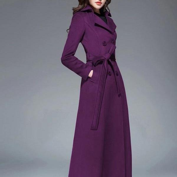 RssLyn Long Overcoats Purple Trench Coats with Free Designer Brooch Double Breasted Wool Coats for Women