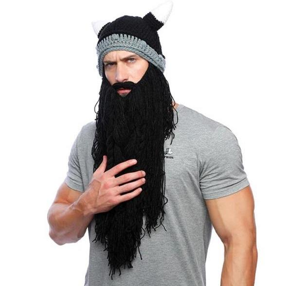 Rsslyn Birthday Costume 2pcs/SET Viking Hat with Detachable Long Fake Beard