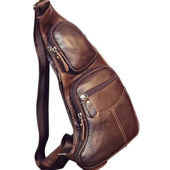 Rsslyn Brown Chest Packs Authentic Leather Backpacks for Men Phone bags for Men