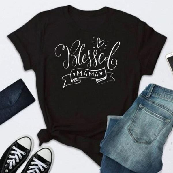 Rsslyn Mothers Day Gift Blessed Mama Print Black T-Shirt Basic Tops for Women Cotton Outfit