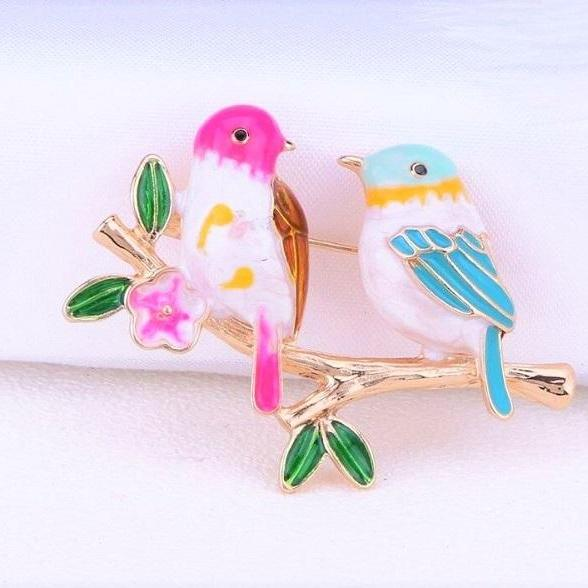 Rsslyn Cute Bird Brooches Retro Pins Clothes Accessories Scarf Brooches Hat Bling
