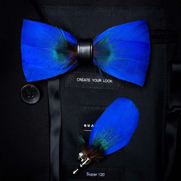Rsslyn Exquisite Bows and Brooch Set for Men Business Bow Ties Feathers