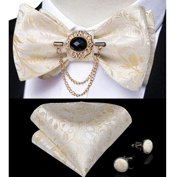 Rsslyn 3pcs/SET Jacquard Bows, Cufflink and Hanky Set for Men Business Bow Golden Ties for Boys