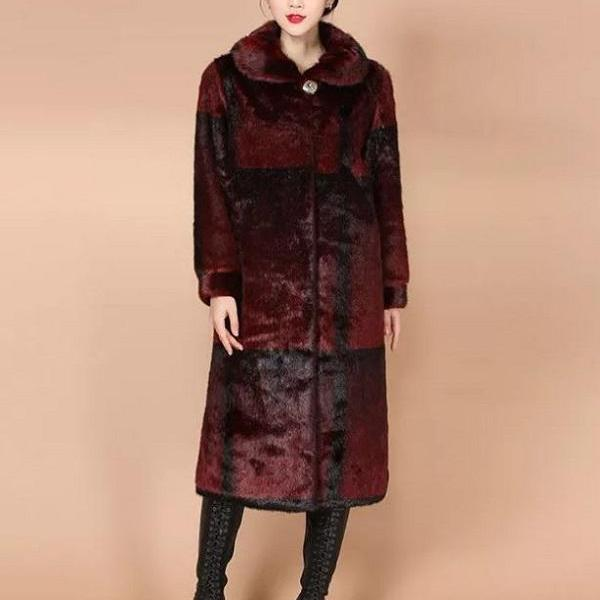 Rsslyn Burgundy Coats with 2pcs FREE Designer Brooch High-Quality Faux Mink Fur Red Overcoats