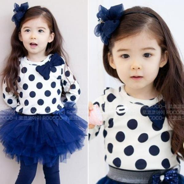 Navy Blue Polka Dots Clothing Set for Girls 12-24months Limited Items Navy Blue Tutu Skirts with White Tees